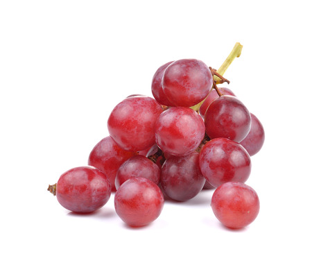 purple red grapes: Fresh red grape on white background Stock Photo