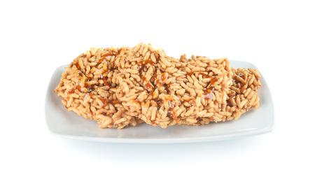sesame cracker: Rice cracker isolated on white background Stock Photo