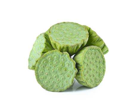 l agriculture: Lotus seeds ,green pod  on white background. Stock Photo