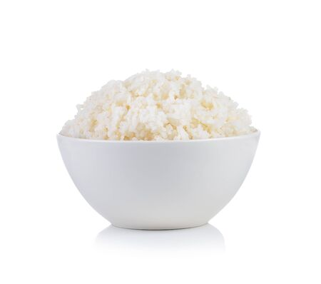 arroz blanco: Rice in a bowl on a white background