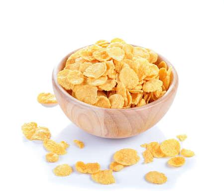 corn flakes: Corn flakes sur fond blanc Banque d'images