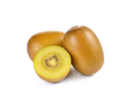 Yellow gold kiwi close up on white background