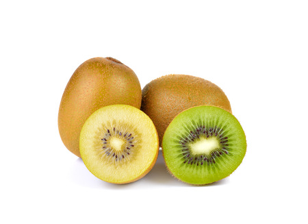 Yellow gold and green kiwi  on white background 版權商用圖片
