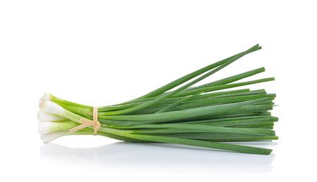 gastro: Green Onion on white background Stock Photo