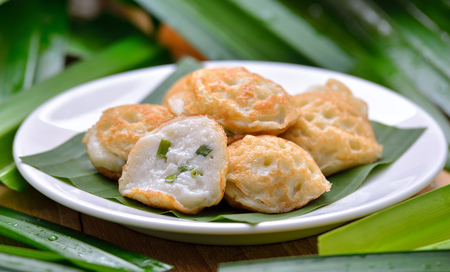fresh milk: Kanom Krok ,Thai dessert from coconut milk Stock Photo