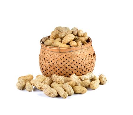 goober: groundnuts (peanut)  on white background Stock Photo