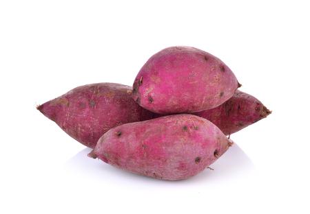 starchy food: purple sweet  yams  on  white background. Stock Photo
