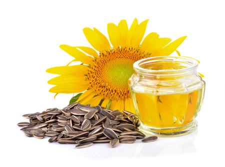 zonnebloemolie op een witte achtergrond Stockfoto