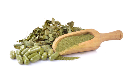 Dried Moringa leaf and powder - medicinal plant. 版權商用圖片