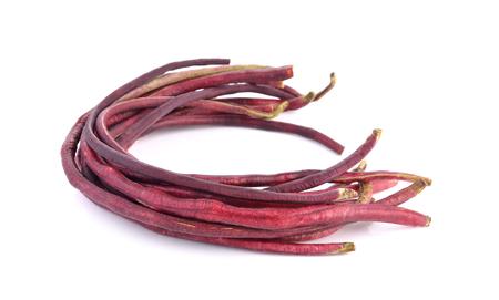 long bean: red Long bean  on white background Stock Photo