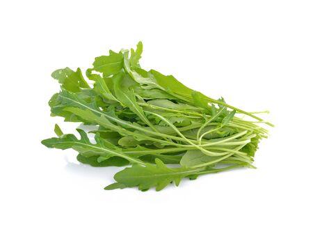 rocket lettuce: rocket lettuce leaves or sweet rucola salad isolated on white background