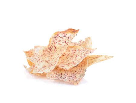 chinese yam: fried taro on white background