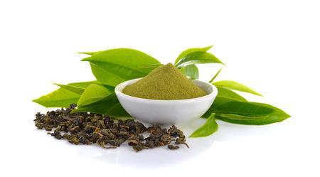 maccha: powder green tea and green tea leaf  on white background