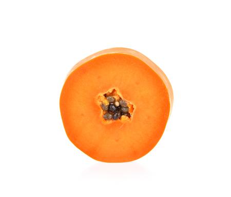 slices of ripe  papaya on white background