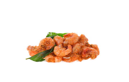 food preservation ,fried shrimp on white background