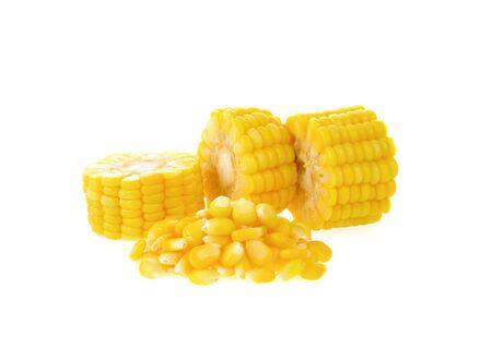 Boiled corn on white background