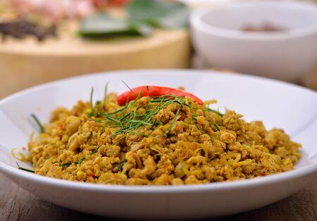 Spicy pork with herb,Thais cuisine