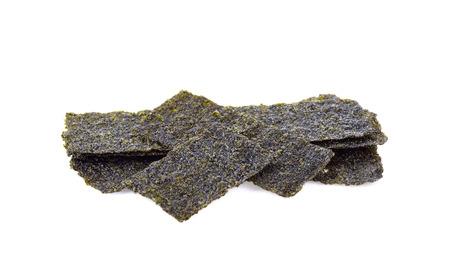Roasted  seaweed  on white background