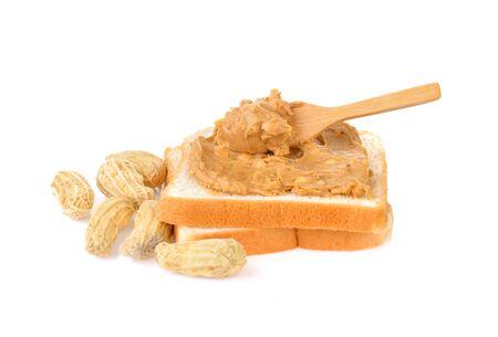Peanut  and peanut butter on sandwich bread 版權商用圖片