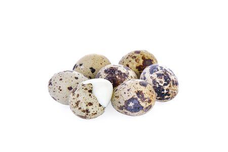 Quail eggs on white background 版權商用圖片