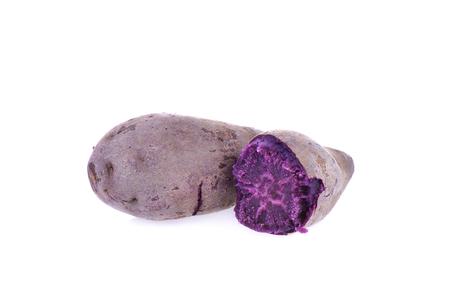 Boiled purple yam on whit background 版權商用圖片
