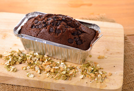 brownie cake on wooden background