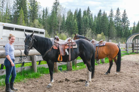 A young woman with to horses getting ready to go horse riding in Banff national park Banco de Imagens - 142126643