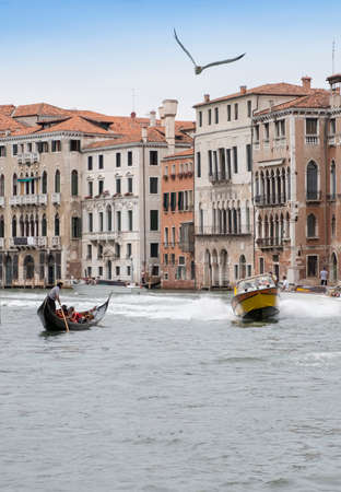 Blurred carabinieri police boat speeds along the Grand Canal of Venice bird in the sky, Italy.