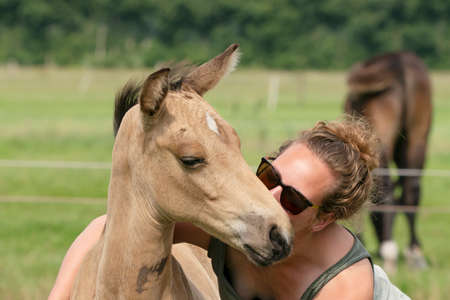 Young woman cuddling with her best friend, falcon color stallion foal, share a loving moment.