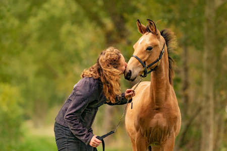 A light brown buckskin foal, woman lovingly kisses the foal on his nose. autumn colors.