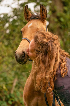 A light brown buckskin foal, woman lovingly kisses the foal on his nose.