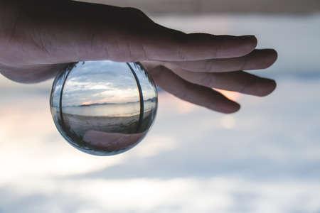 crystal ball beach, Inside is the sun setting.
