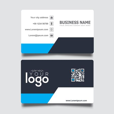 Black, white and blue simple business card template 向量圖像