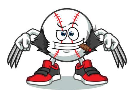 baseball wolfrine eith claws mascot vector cartoon illustration Illustration
