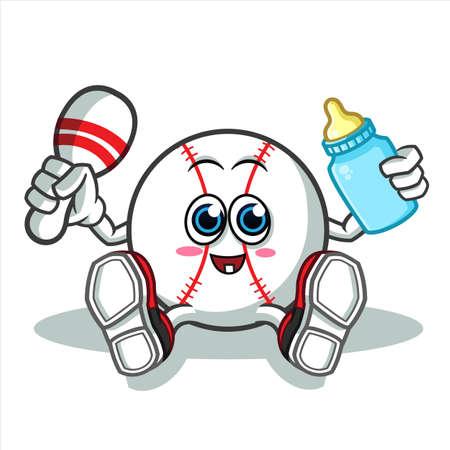baseball baby mascot vector cartoon illustration Illustration