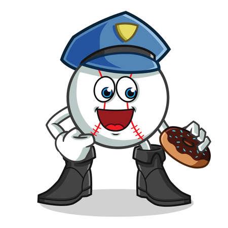 baseball police eat donut mascot vector cartoon illustration