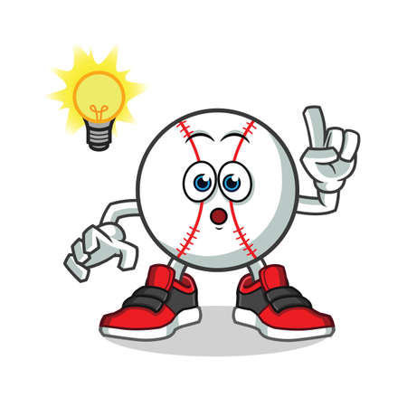 baseball got an idea mascot vector cartoon illustration