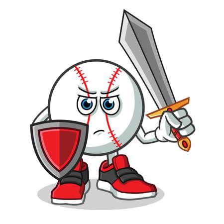baseball warior holding sword and shield mascot vector cartoon illustration Illustration
