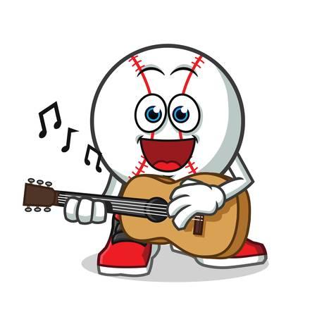baseball playing guitar mascot vector cartoon illustration Illustration