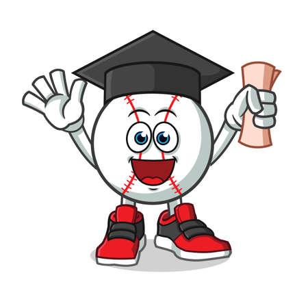 baseball graduation mascot vector cartoon illustration
