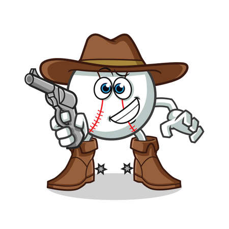 baseball cowboy holding gun mascot vector cartoon illustration Vectores