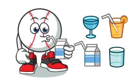 baseball drink mascot vector cartoon illustration Illustration