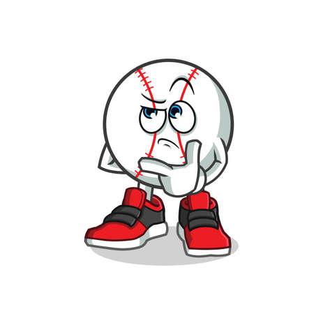 baseball thinking mascot vector cartoon illustration