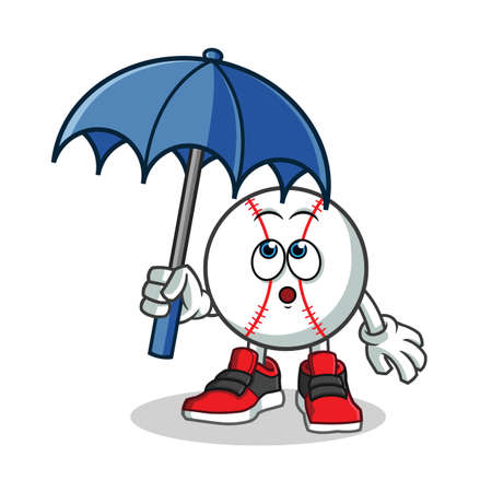baseball holding umbrella mascot vector cartoon illustration