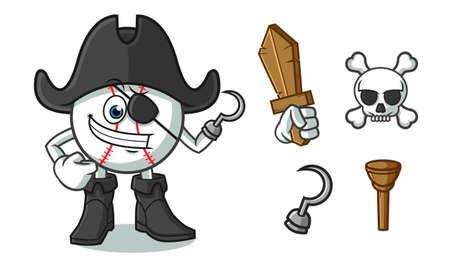 baseball pirate mascot vector cartoon illustration Çizim