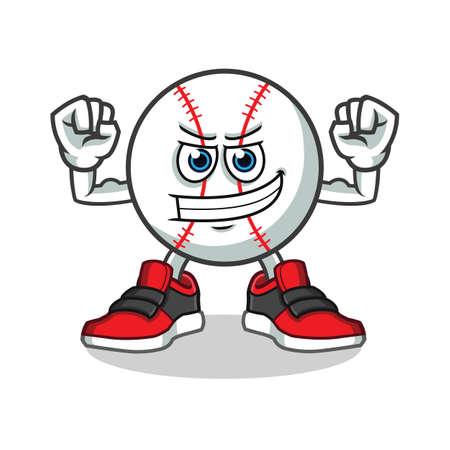baseball muscle mascot vector cartoon illustration Illustration