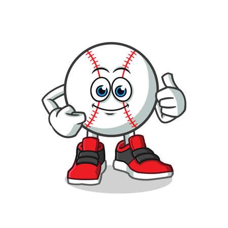 baseball  thumbs up mascot vector cartoon illustration Illustration