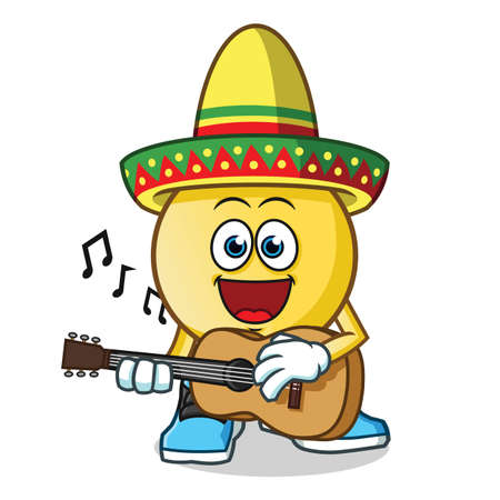 emoticon playing guitar and wearing a sombrero mascot vector cartoon illustration
