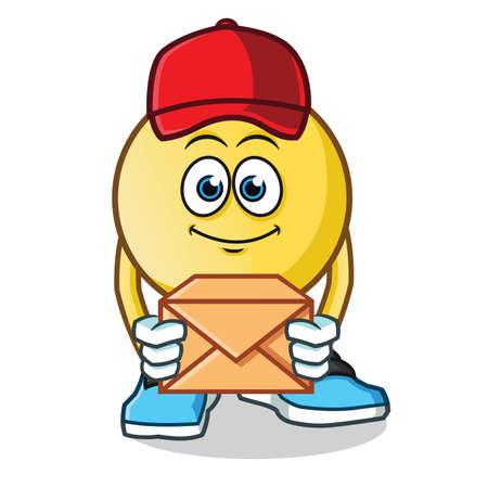 emoticon postman mascot vector cartoon illustration