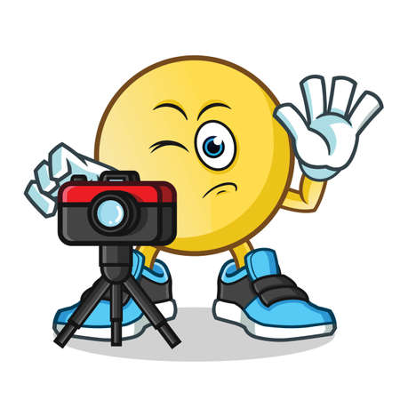 emoticon photographer taking pictures mascot vector cartoon illustration